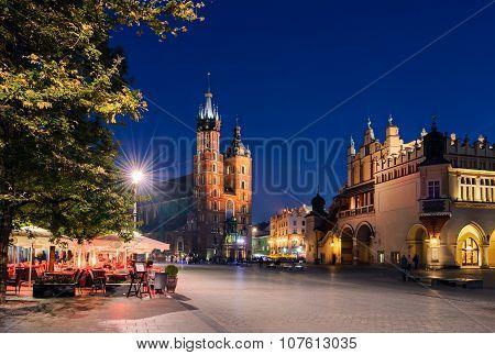 Cafe On Rynek Glowny Square In Krakow