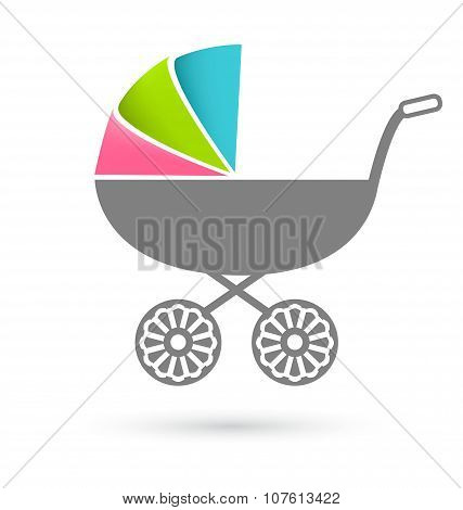 Baby Carriage - Pram Icon Isolated On White