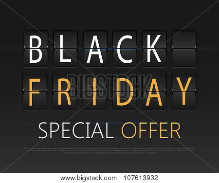 Black friday text on the airport timetable. Sale theme. Vector illustration.