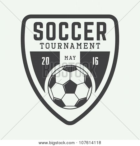 Vintage Soccer Or Football Logo, Emblem, Badge, Label And Watermark With Ball In Retro Style.