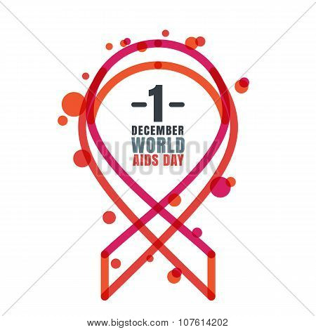Vector Trendy Illustration Of Red Linear Ribbon Aids Symbol And Text.