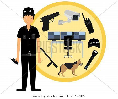 Security guard. Icon set security. Vector illustration