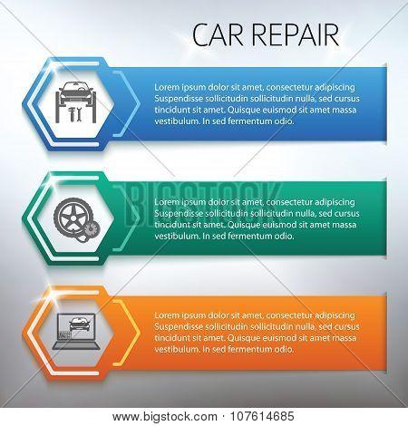 Car-repair-horizontal-banner-set-gray-background