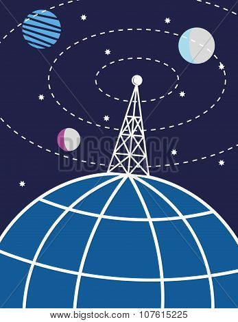 Radio Mast and Planet Earth