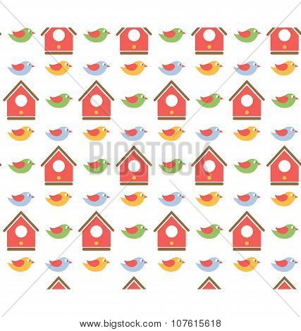Spring Seamless Pattern Birds And Birdhouse Isolated On White