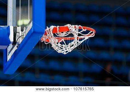 Abstract Sport Background With Basketball Hoop. Sport Equipment For Team Game.