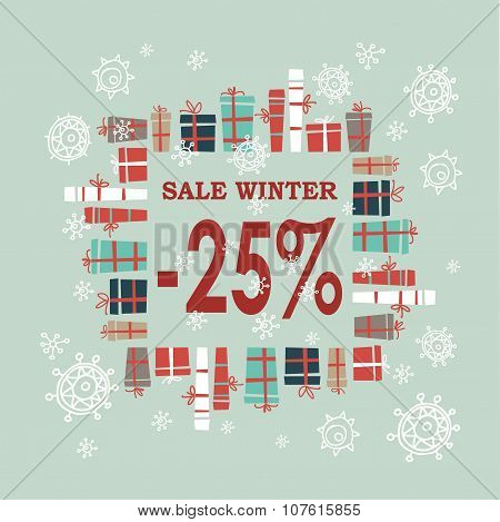 Winter sale background with red letters,gifts and snowflakes.  Vector illustration