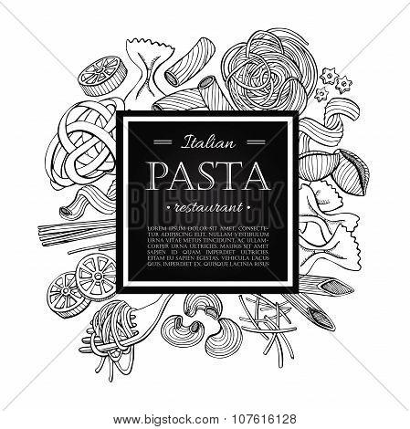 Vector Vintage Italian Pasta Restaurant Illustration.