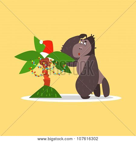 Gorilla and Christmas Palm Tree. Vector Illustration