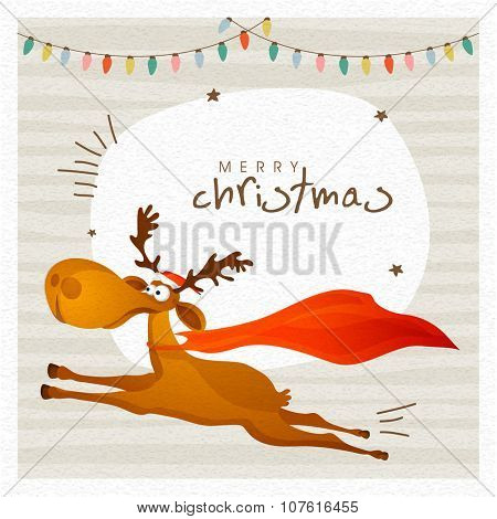 Elegant greeting card design with cute running reindeer on colorful lights decorated background for Merry Christmas celebration.