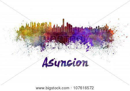 Asuncion Skyline In Watercolor