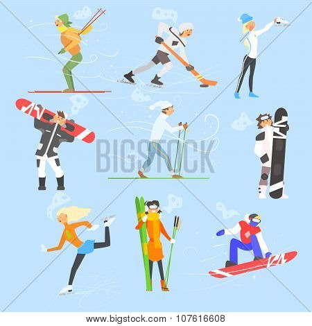 Winter Sports and Activities. Vector Illustration Set