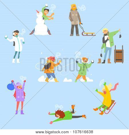 Winter Fun and Activities. Vector Illustration Set