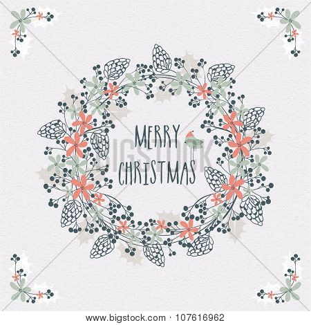 Beautiful flowers decorated greeting card design on stylish background for Merry Christmas celebration.