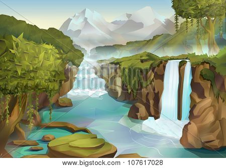 Forest and waterfall, nature landscape vector background