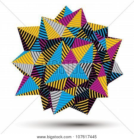 Vector Digital 3D Striped Abstraction, Geometric Polygonal Element. Spatial Technological Colorful
