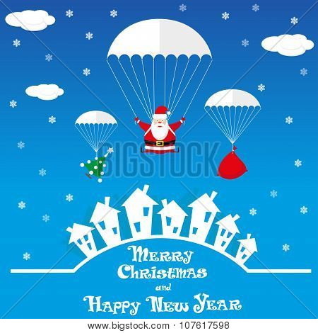 Vector Banner Funny Santa Claus As Skydiver With Christmas Tree And Gift Bag On Blue Background