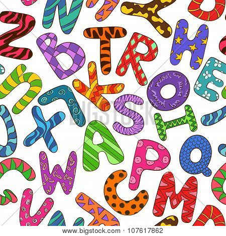 Seamless Pattern With Colorful Children Alphabet.