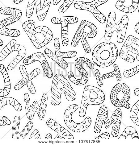 Black And White Seamless Pattern With Children Alphabet.