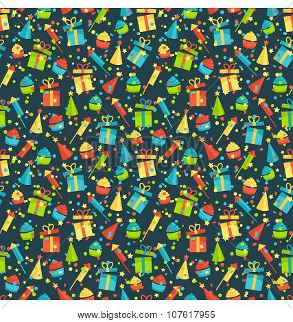 Seamless Bright Fun Celebration Festive Pattern Isolated On Whit