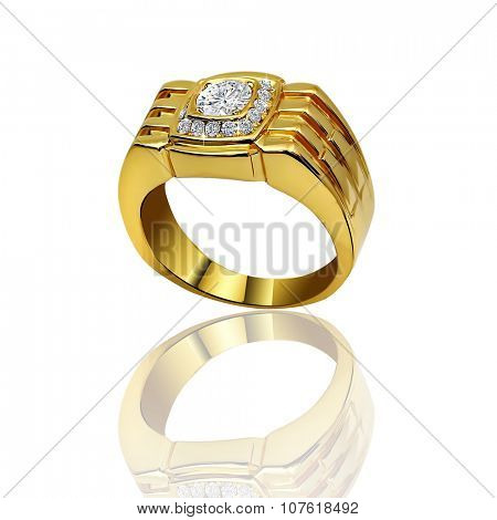 Stylish jewelry. Male Rings with diamonds isolated on white background