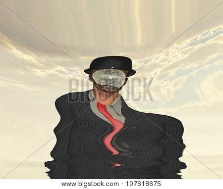 Melting Scene of man in dark suit hidden face