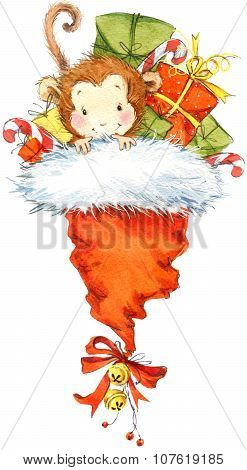 New Year Monkey illustration. New year and Christmas background with monkey and winter feast decorat