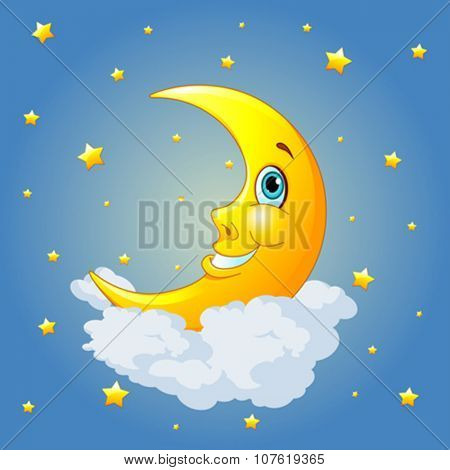 Smiling moon on radial background