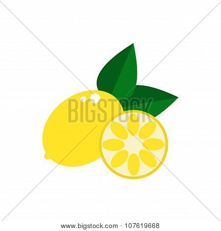 Lemon. Isolated lemon icon on white background.