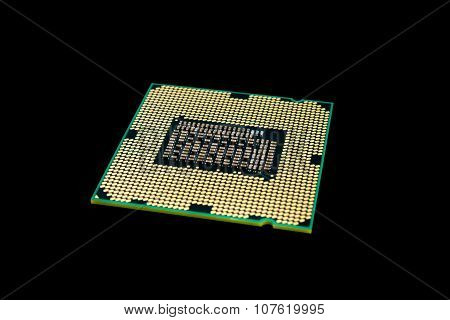 Electronic Collection - Computer Cpu (central Processing Unit) Chip Isolated On Black Background
