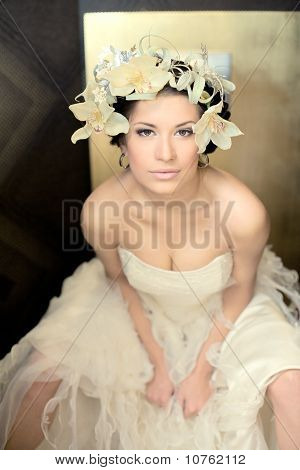 Beautiful Bride  Brunette With Flowers In Hairs  In A Sexual Pose