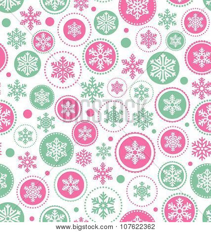 Seamless Abstract Christmas Pattern With Snowflakes Isolated On