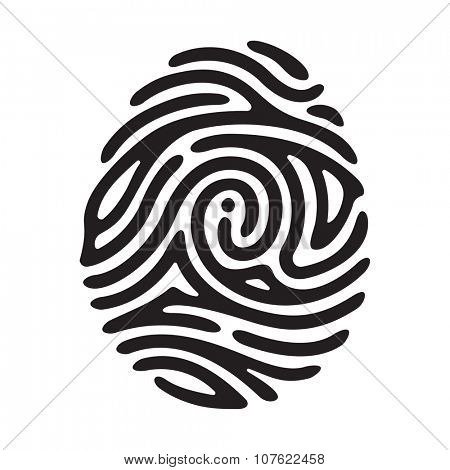 Vector black I finger print isolated on white background