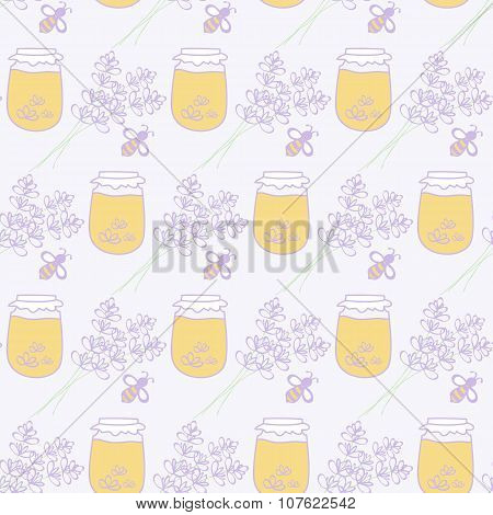 Honey jar, lavenderand bee. Hand-drawn seamless cartoon pattern with honey pot, bee and lavender bou