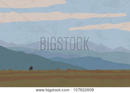 landscape travel nature mountains riders horse