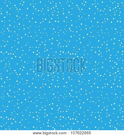 Seamless Christmas Pattern With Snowfall Isolated On Blue
