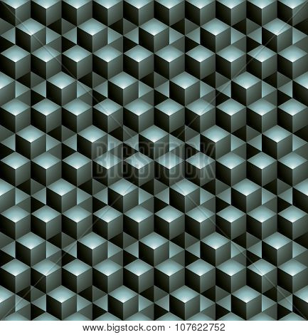 Futuristic Continuous green Pattern, Illusive Motif Abstract Background, 3D Geometric