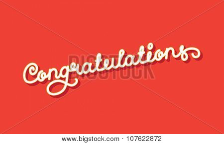 Congratulations Elegant Hand Lettering. Vector illustration