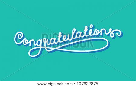 Congratulations. Elegant Hand Lettering. Vector illustration