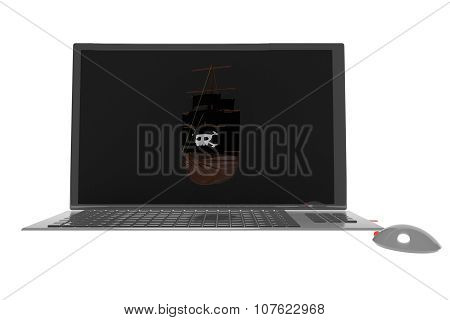 Pirate Ship On Laptop