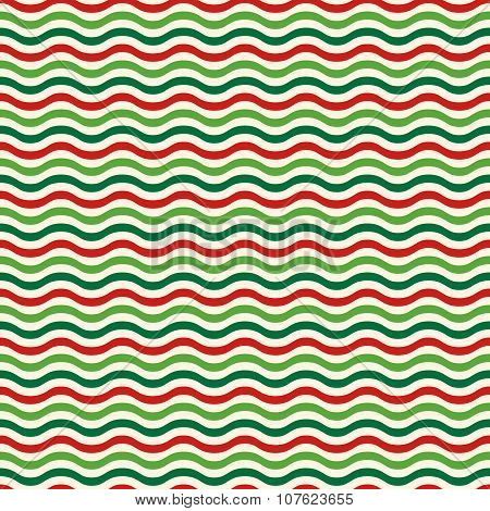 Seamless Wave Pattern In Christmas Colors Isolated On White