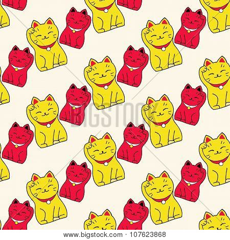 Maneki-neko cat. Seamless pattern with sitting hand drawn lucky cats. Japanese culture. Doodle drawi