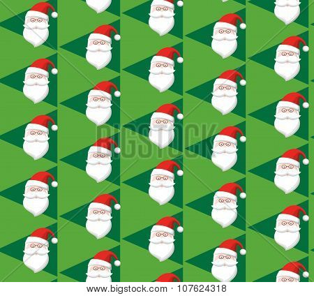 Seamless Christmas Pattern With Santa On Green