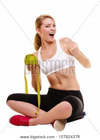 Happy Successful Woman Weighing Scale. Weight Loss
