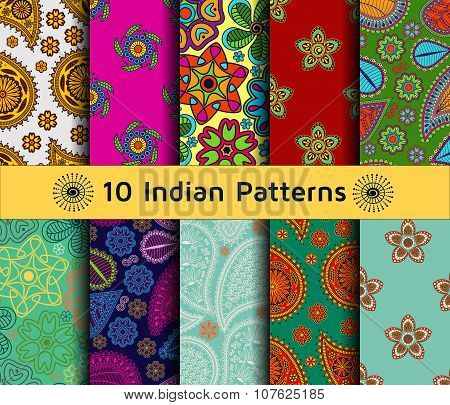 Set of Indian seamless patterns. Paisley backgrounds in ethnic style. Each pattern has been saved in