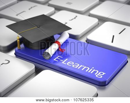 graduation cap and diploma on keyboard - e-learning concept