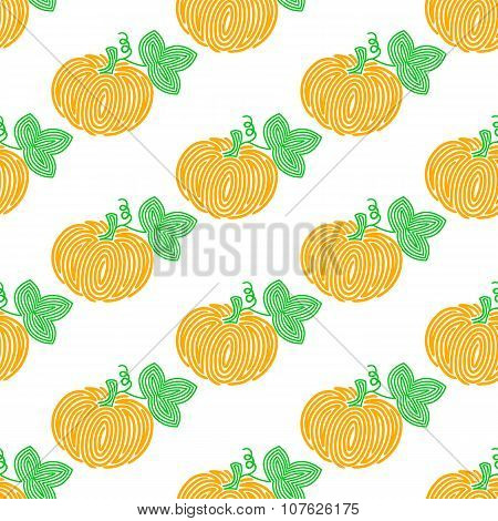 Pumpkin. Seamless pattern with spiral pumpkins. Vector vegetable illustration