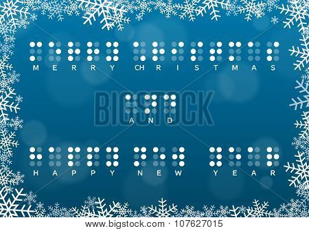 Merry Christmas And Happy New Year Card With Braille Greeting
