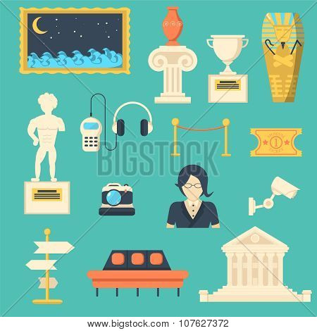 Museum Vector Icons Set With Sculpture, Antique And Culture Symbols