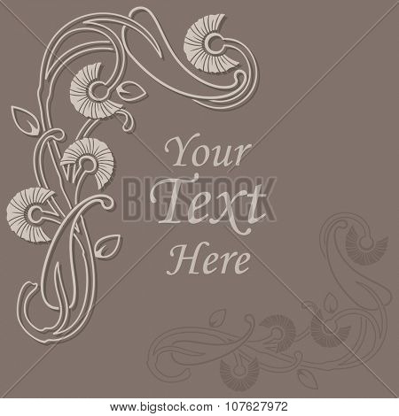 Abstract floral beige vector background.